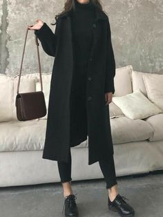 Fashion Casual Loose Solid Color Jumpsuits New Black Pockets Turndown Collar Long Sleeve Fashion Coat.Fashion Casual Loose Solid Color Jumpsuits New Black Pockets Turndown Collar Long Sleeve Fashion Coat Winter Fashion Outfits, Look Fashion, Korean Fashion, Fall Outfits, Womens Fashion, Fashion Coat, Fall Fashion, 80s Fashion, Woman Outfits