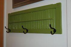 DIY repurposed shutter turned coat rack