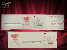 Creative Wedding Invitation Card with Bike, Animated Romantic Invitations with Loving Couple, Fancy Funny Invites with Bicycle (code Wedding Rsvp, Wedding Programs, Wedding Cards, Wedding Thank You, Creative Wedding Invitations, Wedding Invitation Cards, Wedding Direction Cards, Wedding Directions, Rose Corsage
