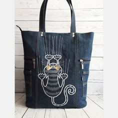 Best 12 Cool Cats Cats cat tote Cats Tails Black black cats tote – Page 358669557825030909 – SkillOfKing. Patchwork Bags, Quilted Bag, Diy Sac, Denim Purse, Denim Tote Bags, Diy Bags Purses, Denim Handbags, Cat Bag, Denim Crafts