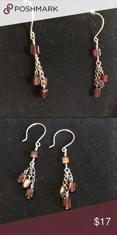 Garnet sterling silver dangle earrings Here is a pair of hand made garnet earrings made with all .925 sterling silver metal findings and chain. These have 4 square beads each measuring approximately 5mm average, 3 of which hang from sterling silver chain. These measure from very top of hook to bottom of longest hanging garnet, 2 inches. The garnets are a beautiful wine color. Jewelry Earrings