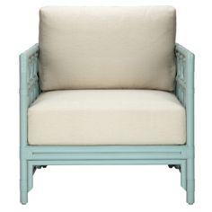 Light blue rattan arm chair
