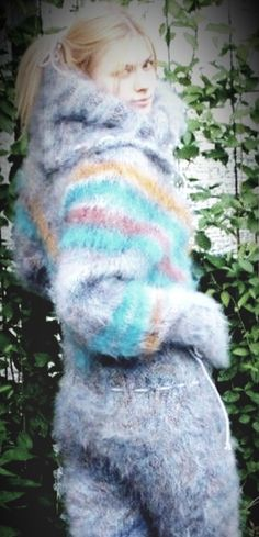 Sweater Outfits, Fall Outfits, Winter Beauty, Mohair Sweater, Catsuit, Overalls, Shorts, Mittens, Blue Dresses