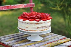 Piškotový dort s jahodami, mascarpone a lemon curd Naked Cakes, Lemon Curd, I Foods, Tiramisu, Raspberry, Cake Decorating, Yummy Food, Sweets, Fruit