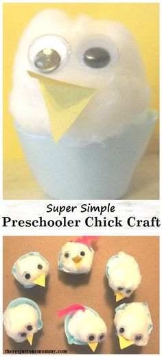 These adorable cotton ball chicks are the perfect preschooler chick craft for spring or Easter.