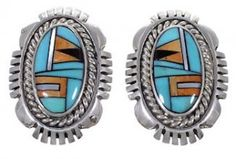 Sterling Silver Turquoise Multicolor Inlay Post Earrings DS39393