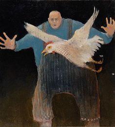Blue - man with a chicken - painting  Artodyssey: Mel McCuddin