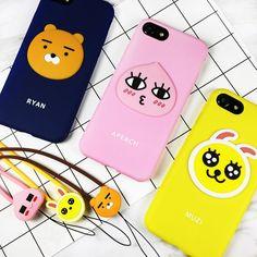 Cute Cartoon swag Muzi Ryan bear Lion rabbit Pink Apeach Lanyard Soft Silicone Phone Case Cover For iPhone 6 6s 6splus 7 7plus