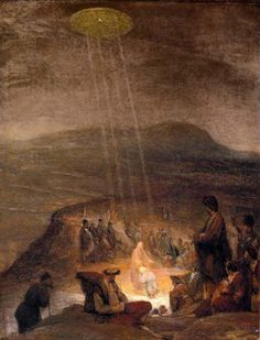 """Aliens and UFOS in Ancient Art ~ """"The Baptism of Christ"""" was Painted in 1710 by Flemish artist Aert De Gelder depicts a classic, hovering, silvery, saucer shaped UFO shining beams of light down on John the Baptist and Jesus. Ancient Aliens, Aliens Und Ufos, Ancient History, Art History, European History, American History, Asian History, Tudor History, British History"""