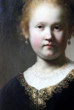 Portrait of a Girl Wearing a Gold Trimmed Cloak, Rembrandt Harmensz, van Rijn, Dutch, Oil on panel Leiden, Rembrandt Portrait, Rembrandt Paintings, Baroque Painting, Baroque Art, Dutch Artists, Famous Artists, Portraits, Portrait Art