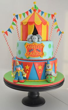 Circus Birthday Cake - This circus cake was for a brother and sister turning 3…