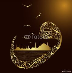 Illustration of abstract istanbul silhouette with calligraphy and letter vav vector art, clipart and stock vectors. Arabic Calligraphy Art, Arabic Art, Decoupage Printables, Arabic Pattern, Font Art, Islamic Wallpaper, Turkish Art, Vector Art, Art Clipart