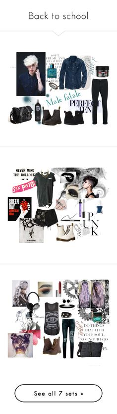 """""""Back to school"""" by bella-whitlam ❤ liked on Polyvore featuring BackToSchool, Folio, American Eagle Outfitters, Topman, Paul Smith, Dr. Martens, Bling Jewelry, Versace, TIGI and men's fashion"""