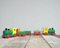 VINTAGE 1970 kids toys wooden train '70s wooden by viadeinavigli, $28.00