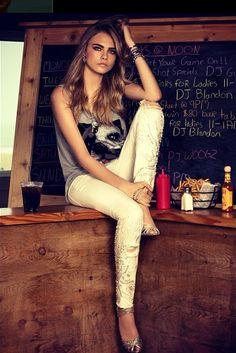 Cara Delevingne and a bulldog shirt. My idea of perfection