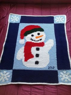 Crochet Snowman Afghan - Crochet Afghans and Throws Crochet Afghans, C2c Crochet, Crochet Quilt, Tapestry Crochet, Afghan Crochet Patterns, Free Crochet, Baby Afghans, Crochet Blankets, Chrochet