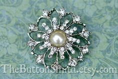 Metal Rhinestone Button Octavia 35mm RS058  5 by TheButtonSmith, $6.75