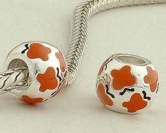 Sterling Silver Disney Orange Butterfly Enamel Charms