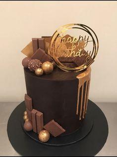 Elegant Birthday Cakes, 18th Birthday Cake, Beautiful Birthday Cakes, Birthday Cakes For Men, Chocolate Birthday Cake For Men, Elegant Cakes, Chocolate Cake Designs, Chocolate Drip Cake, Chocolate Recipes