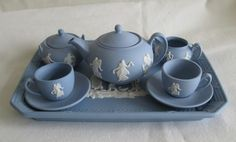 "Wedgwood Blue & White Jasper ""Dancing Hours"" Miniature Tea Set"