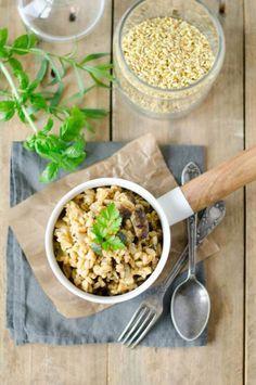 Blésotto courgettes, artichauts et parmesan Parmesan, Food Design, Artichoke, Healthy Tips, Oatmeal, Gluten, Rice, Pasta, Risotto