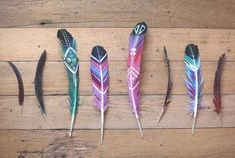 Hand Painted Feathers Decorations and Unique Gifts in Southwestern Style