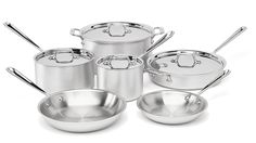 All-Clad 700362 MC2 Professional Master Chef 2 Stainless Steel Tri-Ply Bonded Oven Safe PFOA Free Cookware Set, 10-Piece, Silver *** Details can be found by clicking on the image.