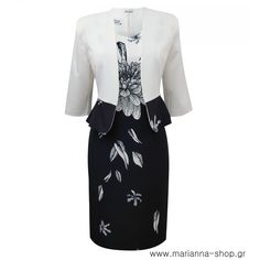 Two piece set blazer and dress. Knee length sleevelessdress with zipper details on the shoulders. The blazer has 3/4 sleeves and open front  88%pol-12%el  Made in Greece