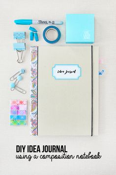 Turn an ordinary composition notebook into a fabulous Idea Journal using office supplies from @officedepot.  www.livelaughrowe.com #ad