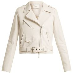 The Row Perlin leather biker jacket (83,885 EGP) ❤ liked on Polyvore featuring outerwear, jackets, rider leather jacket, motorcycle jacket, white fitted jacket, white leather jackets and genuine leather jacket