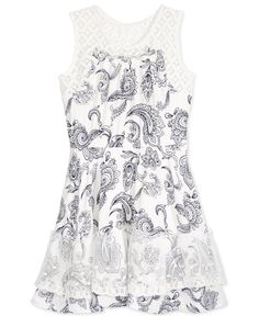 Epic Threads Crochet-Trim Paisley-Print Fit & Flare Dress, Toddler & Little Girls (2T-6X), Only at Macy's