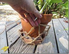 Hanging Plant Holder - easy crochet pattern using chain stitch and single crochet stitch.