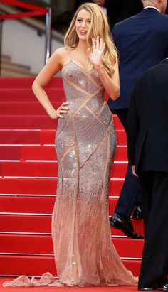 Blake Lively in a sequined blush pink Versace dress in 2016 - click through for her best Cannes dresses ever!