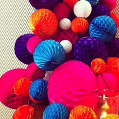 Decorative tissue balls on display at Spence & Lyda's 15th birthday party, http://www.spenceandlyda.com.au/