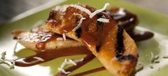Grilled Bananas with Mexican Chocolate Sauce Recipe : Marcela Valladolid : Recipes : Food Network Banana Recipes, Fruit Recipes, Mexican Food Recipes, Dessert Recipes, Chef Recipes, Fruit Dessert, Mexican Cooking, Apple Recipes, Yummy Recipes