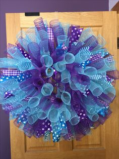 Deco mesh purple and blue wreath for Sylvia!