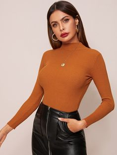 Check out this Solid Mock Neck Ribbed Knit Jumper on Shein and explore more to meet your fashion needs! Sweater Shirt, Sweater Outfits, Skirt And Top Set, Basic Tops, Casual Sweaters, Jumpers, Mock Neck, Types Of Sleeves, Fashion News