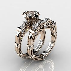 Affordable, elegant and chic, this Art Masters Caravaggio 14K Rose Gold 1.0 Ct Champagne and White Diamond Engagement Ring Wedding Band Set