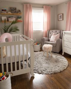 Uplifting baby girl nursery color ideas Get inspired to prepare and create the perfect room for your baby girl. These baby girl nursery ideas can help you create a cute girly room style. Baby Bedroom, Baby Room Decor, Girls Bedroom, Ikea Baby Room, Baby Girl Curtains, Pink Curtains Nursery, Ikea Baby Nursery, Babies Nursery, Bedroom Curtains