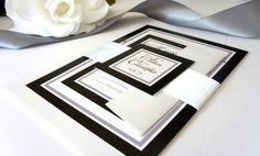 Black Wedding Invitation, Black and White Wedding Invitation, Classy, Wedding Invites, Belly Band, Elegant Wedding Invitation - DEPOSIT