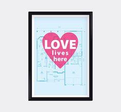 Modern Genes Art.  Love Lives Here Modern Home Decor Digital Wall Art by moderngenes, $15.00