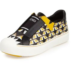 Fendi Bug Eyes Slip-On Sneaker (€665) ❤ liked on Polyvore featuring shoes, sneakers, flats, black, black leather sneakers, black slip on shoes, black shoes, black flats and leather slip on sneakers