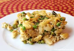 Vegan Tuno Casserole w/ garbanzos, cashews, peas, mushrooms, and onion. Oil-free with nut-free option.