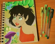 FernGully ☺ Drawn with gel pens and Prismacolor markers. Wink of Stella on the wings and pastel chalk for the background #Disney #FernGully #Chrysta