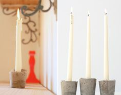 Make these Shabby concrete candle holders and 45 BEST Shabby Lifestyle Decor  Accessory DIY Tutorials EVER!!  From MrsPollyRogers.com