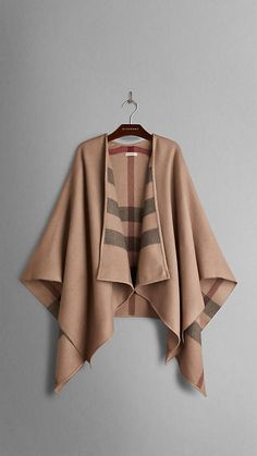 Burberry Smoked Trench Check Check-Lined Wool Wrap -  Elegant wrap in extra fine Merino wool Distinctive check interior, bound edges.  Discover more accessories at Burberry.com