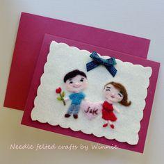 Needle felted custom made card