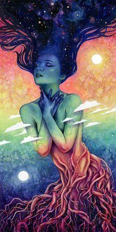 Art And Illustration, Psychadelic Art, Beautiful Fantasy Art, Goddess Art, Hippie Art, Visionary Art, Surreal Art, Love Art, Art Inspo