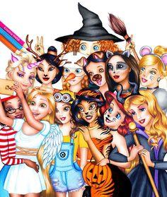 Credit to Kristina Webb/Color Me Creative // a Halloween twist on that Disney princess group pic // Disney princesses in costume for Halloween Disney Pixar, All Disney Princesses, Disney Memes, Disney Girls, Disney And Dreamworks, Walt Disney, Funny Disney, Disney Villains, Frozen Disney