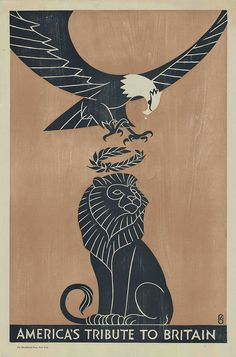 World War I Propaganda Posters — illustration of stylised 'architectural' eagle dropping wreath on lion's head (metaphor)